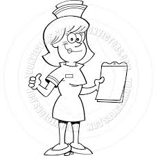 cartoon nurse with a clipboard black u0026 white line art by