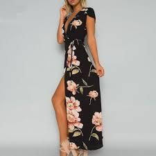 sexi maxi dresses black high slit bohemian maxi dresses dress for less