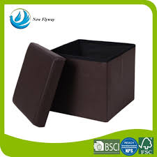 faux leather folding smooth brown storage ottoman cube for foot