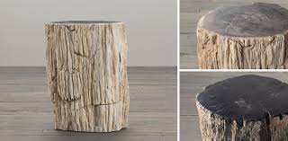 Restoration Hardware Side Table Petrified Wood Stump Occasional Table Collection Restoration