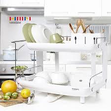 amazon com hanssem curved 2 tier curved dish rack kitchen