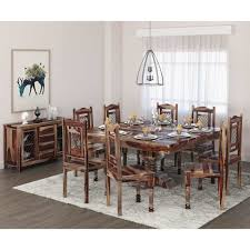 Large Dining Room Table Sets Rustic Block Plank Design Casual 10 Dining Set With Matching