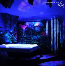 Black Lights In Bedroom Glow In The Bedding Glowing Murals Artist Creates