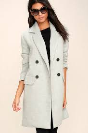 light grey wool coat chic light blue grey coat wool coat pea coat 119 00