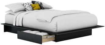 modern white nuance of the floating bed frame that has black bed