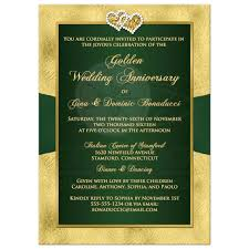 50th wedding anniversary invitation green gold floral printed