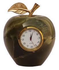 wholesale onyx stone table desktop green apple shaped clock bulk