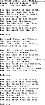 thanksgiving and harvest hymns songs we thank thee our