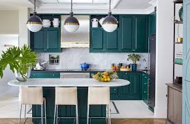 Green Kitchen Design Countertops U0026 Backsplash Blue Stock Pot Incredible Globe Pendant