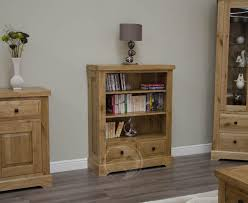 narrow bookcase oak coniston rustic solid oak small bookcase with drawers oak
