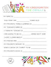 kindergarten time capsule free printable momdot