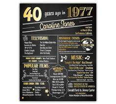 birthday chalkboard 40th birthday poster personalized 40th birthday chalkboard