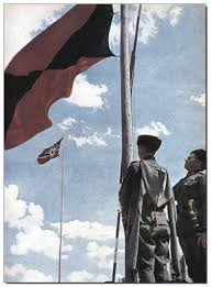 German War Flag Russian Cossack Volunteers Of The German Wehrmacht Raise The