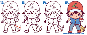 how to draw cute kawaii chibi ash ketchum and pikachu from pokemon