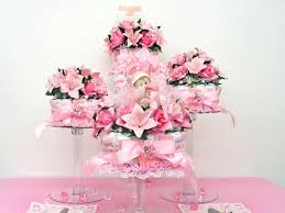 Pink And Brown Baby Shower Decorations 4 Piece Pink Diaper Cakes On Cake Stands Pdc