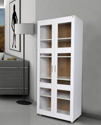 priceworth aspen tall 2 glass doors cupboard storage white 5