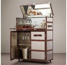 Steamer Bar Cabinet Vintage Grey French Factory Bar Cart