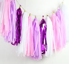 iridescent tissue paper 16pcs mermaid tassel garland pink and lilac iridescent