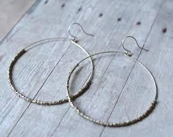 hoop beaded earrings bead hoop earrings etsy