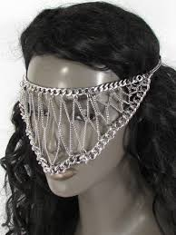 silver metal eye cover half face elastic mask thick halloween new