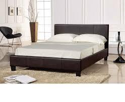 Faux Leather Bed Frames Comfy Living Faux Leather Bed Frame Kingsize 5ft In Black Prado
