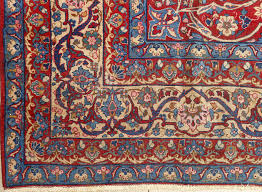Red Rug Beautiful Antique Blue Background Isfahan Persian Rug 51066