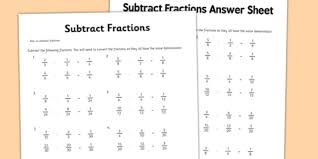 year 6 subtract fractions sheet 1 activity sheet new