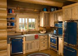 cabin kitchen ideas rustic kitchen the blue retro appliances with the log