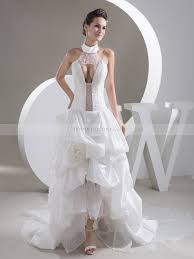 high wedding dresses high neck hi lo wedding gown with sheer key design