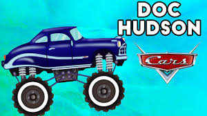 monster trucks kids video doc hudson monster truck jumping u0026 crushing monster truck kids