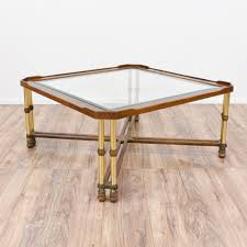 steampunk inspired glass top coffee table loveseat vintage