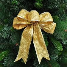 3color large silver gold ribbon bow tree