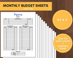 monthly budget sheet etsy