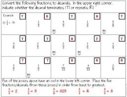 and repeating decimals worksheets and partner activity