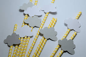 yellow and grey baby shower decorations yellow and grey cloud straws gender neutral party decorations