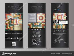 Stand Up Flag Banners Roll Up Banner Stands Abstract Design Geometric Style Templates