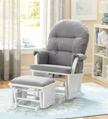 shermag aiden glider and ottoman set white with grey fabric