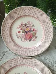 Shabby Chic Plates by 3 X English Ironstone Tableware Staffordshire Rosa Multiflora