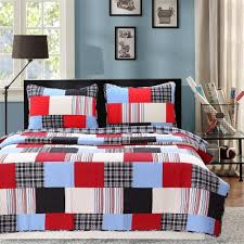 Thomas Twin Bed Elegant Red Navy Blue Plaid Patchwork Teen Boy Bedding Twin Full