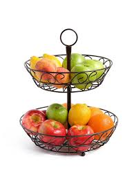 amazon com sturdy and easy assembly 2 tier fruit basket with