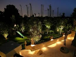 Small Backyard Trees by Led Landscape Lighting On Terraced Patio And Garden In The Small