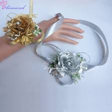 corsage for homecoming 2pcs artificial silk gold flowers wedding homecoming prom