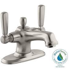 Brushed Nickel Bathroom Faucets by Moen Banbury 4 In Centerset 2 Handle Bathroom Faucet In Spot