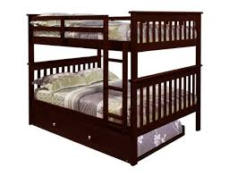 Amazoncom Bunk Bed Full Over Full With Trundle In Cappuccino - Double top bunk bed