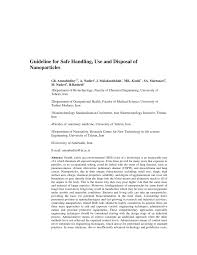 guidelines for safe handling use and disposal of nanoparticles