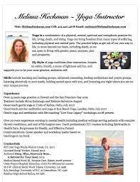 yoga instructor resume melissa heckman services