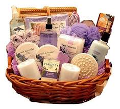 calming lavender bath and gift basket for