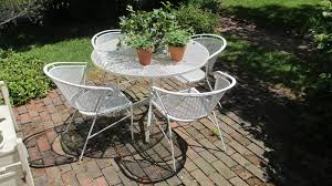 Steel Patio Table Iron Patio Table And Chairs Metal Mesh Folding Vintage Cast Foret