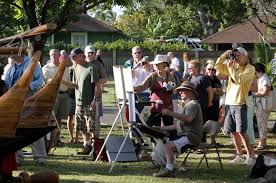a typical scene at the maui plein air painting invitational