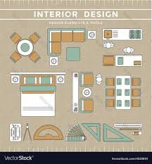 interior design elements tools royalty free vector image